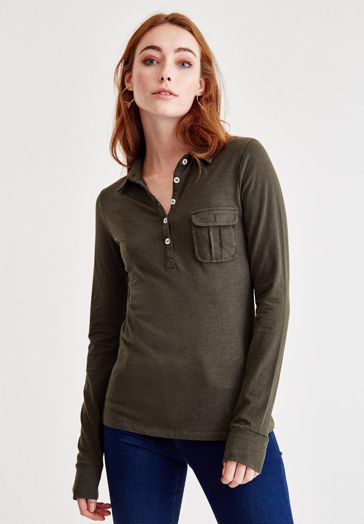 Bayan Yeşil Cep Detaylı Uzun Kollu Gömlek