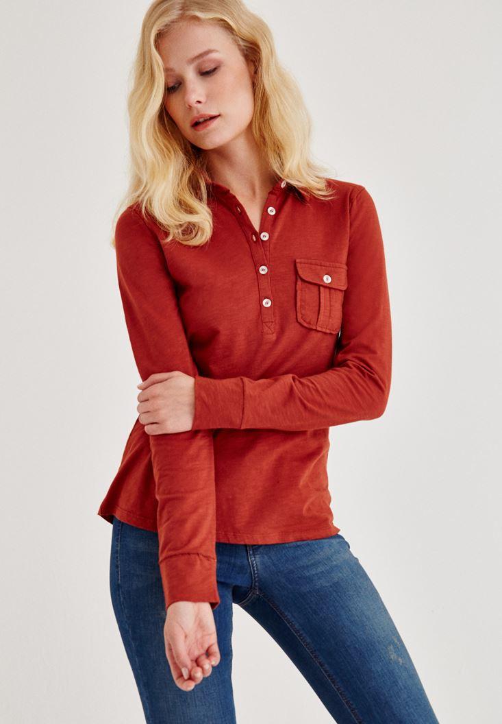 Kahverengi Cep Detaylı Uzun Kollu Gömlek