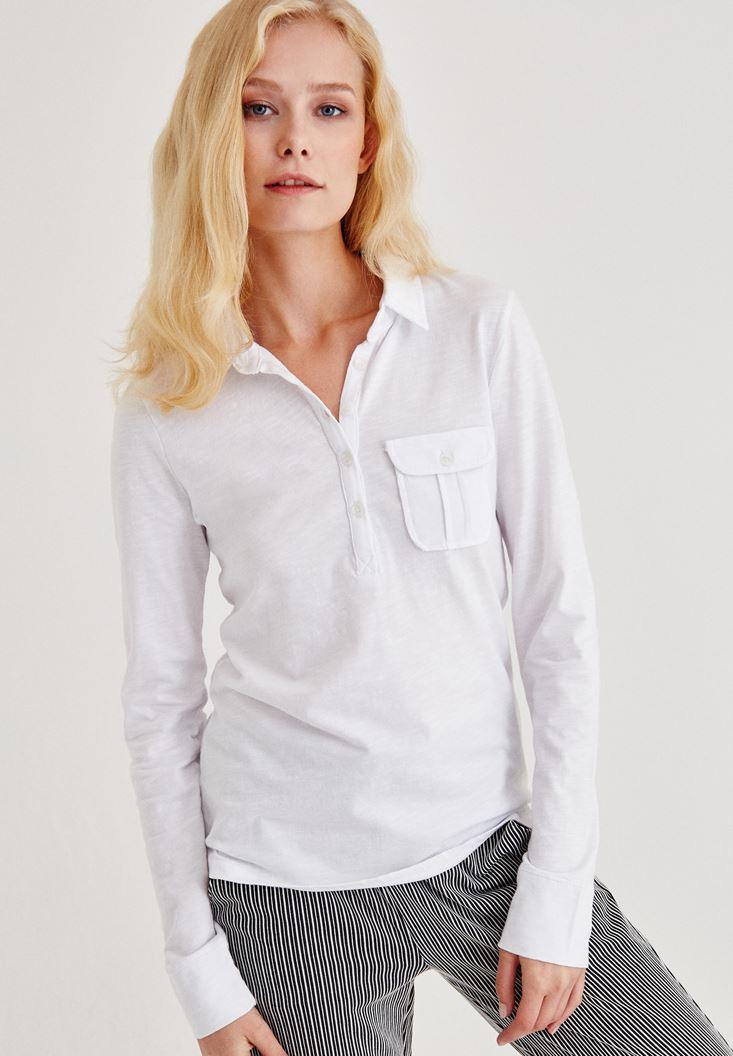 Beyaz Cep Detaylı Uzun Kollu Gömlek