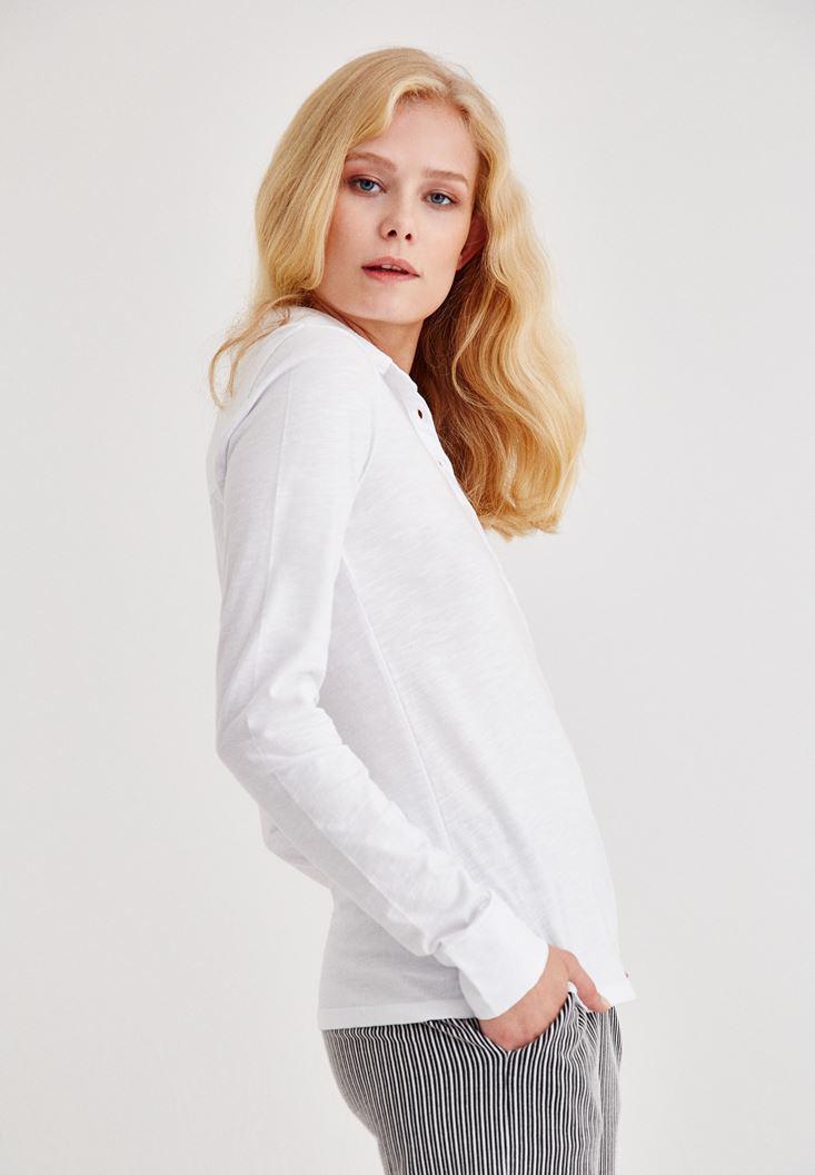 Bayan Beyaz Cep Detaylı Uzun Kollu Gömlek