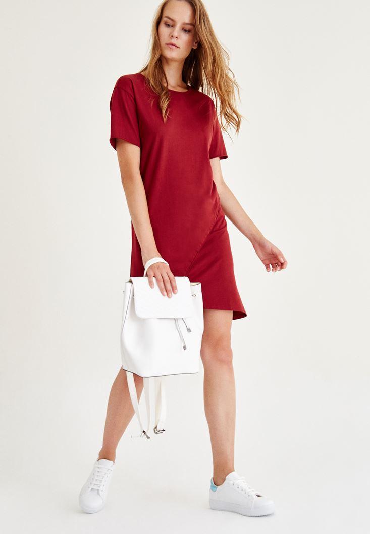 Bordeaux Asymmetric Mini Dress