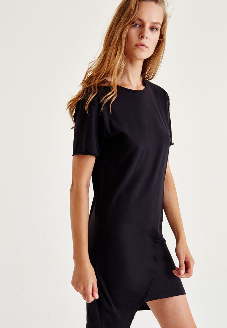 Siyah Asimetrik Elbise