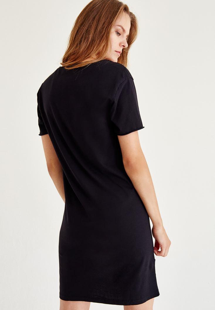 Bayan Siyah Asimetrik Elbise