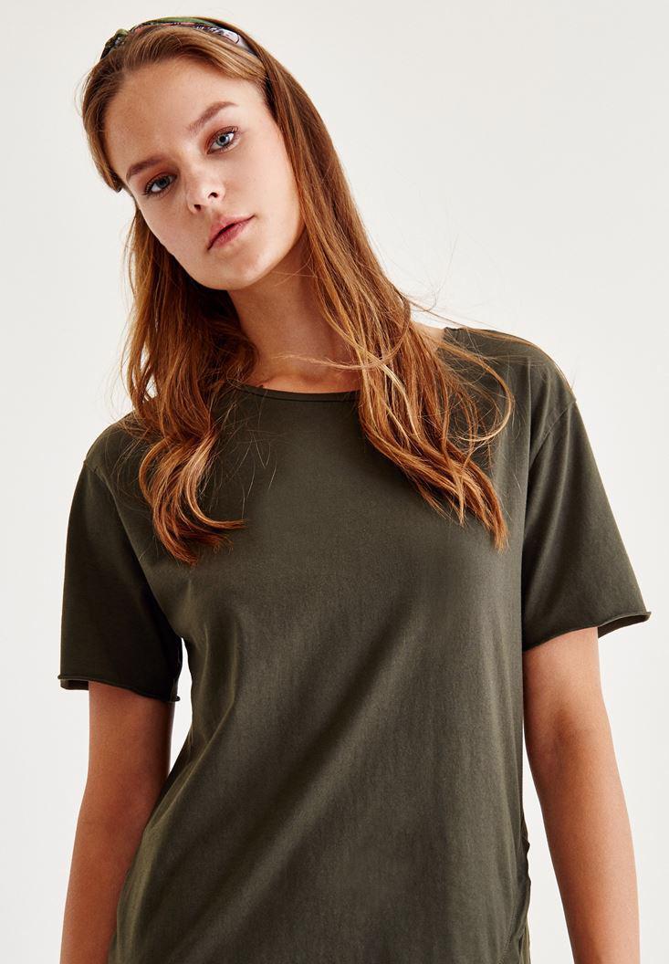 Bayan Yeşil Asimetrik Elbise