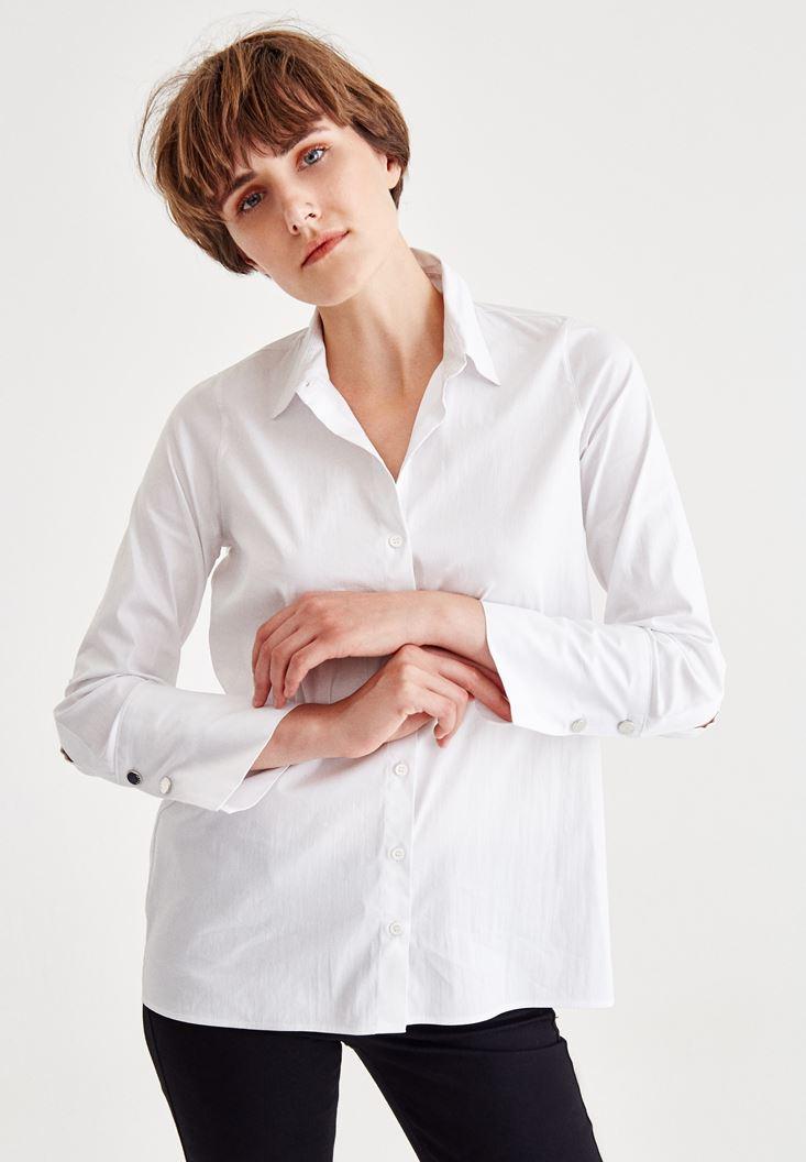 Beyaz Manşet Detaylı Pamuklu Gömlek