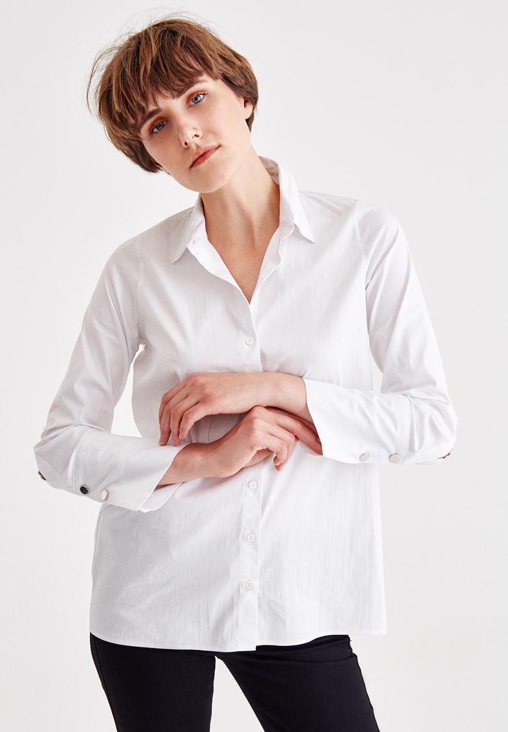 Bayan Beyaz Manşet Detaylı Pamuklu Gömlek