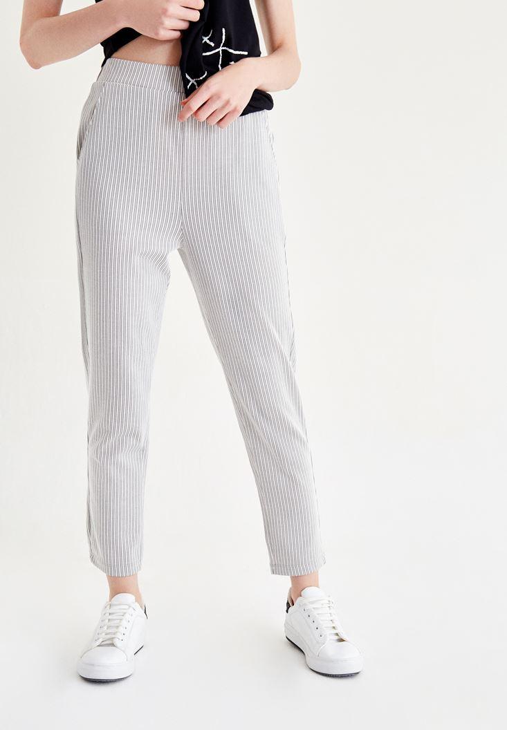 Çok Renkli Çizgili Kısa Paça Pantolon