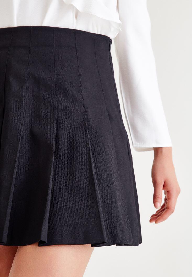 Bayan Siyah Pilili Kısa Etek