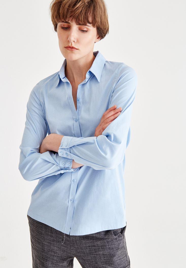 Mavi Uzun Kollu Pamuklu Gömlek