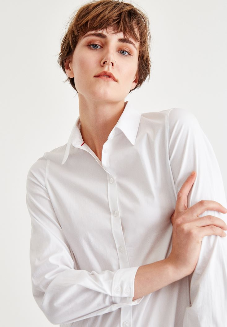 White Long Sleeve Shirt With Cotton