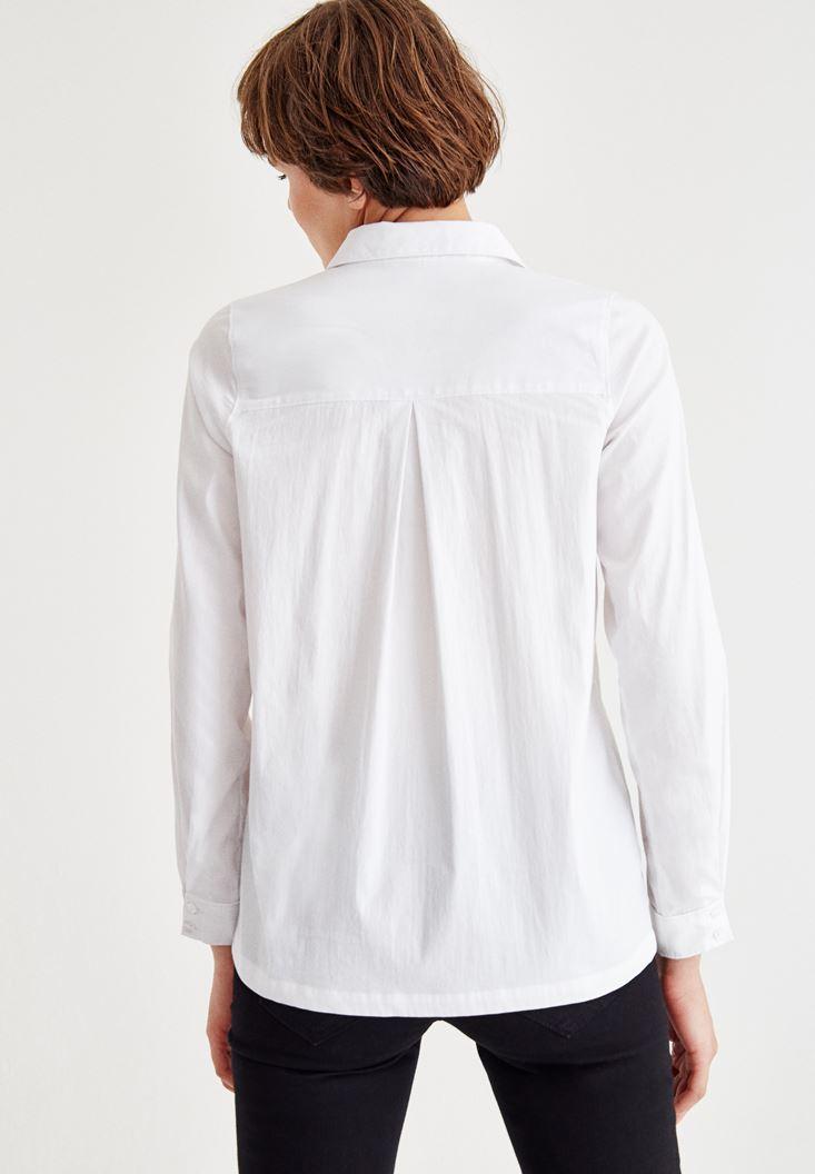 Bayan Beyaz Uzun Kollu Pamuklu Gömlek