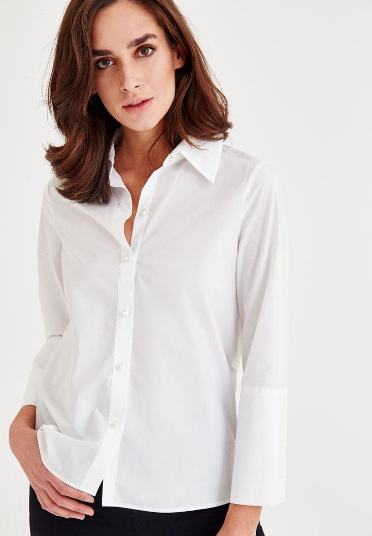 Beyaz İnci Düğmeli Pamuk Gömlek