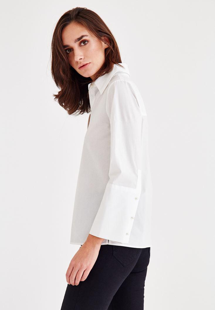 Women White Cotton Shirt With Pearl Buttons
