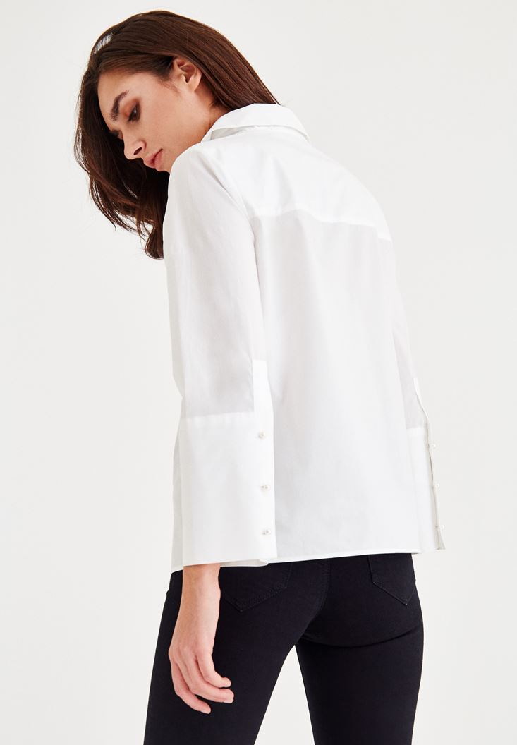 Bayan Beyaz İnci Düğmeli Pamuk Gömlek