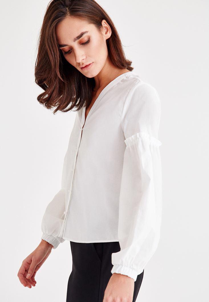 Bayan Beyaz Kol Detaylı İnci Düğmeli Gömlek