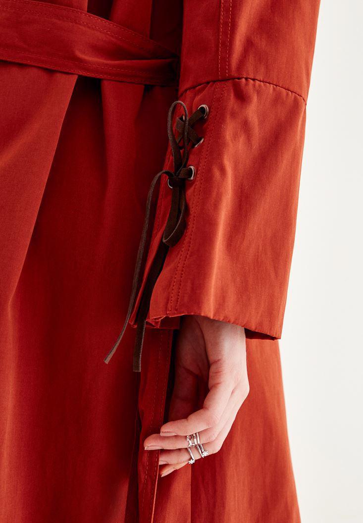 Bayan Kahverengi Düğme Detaylı Trençkot