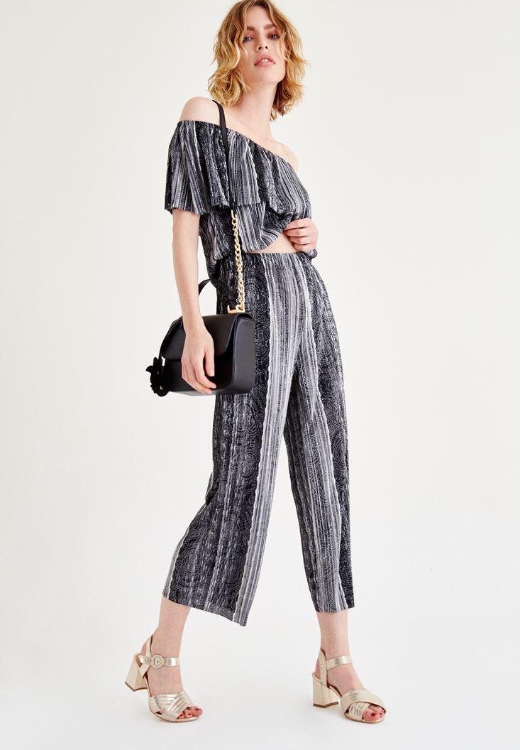Bayan Siyah Straplez Çizgili Bluz
