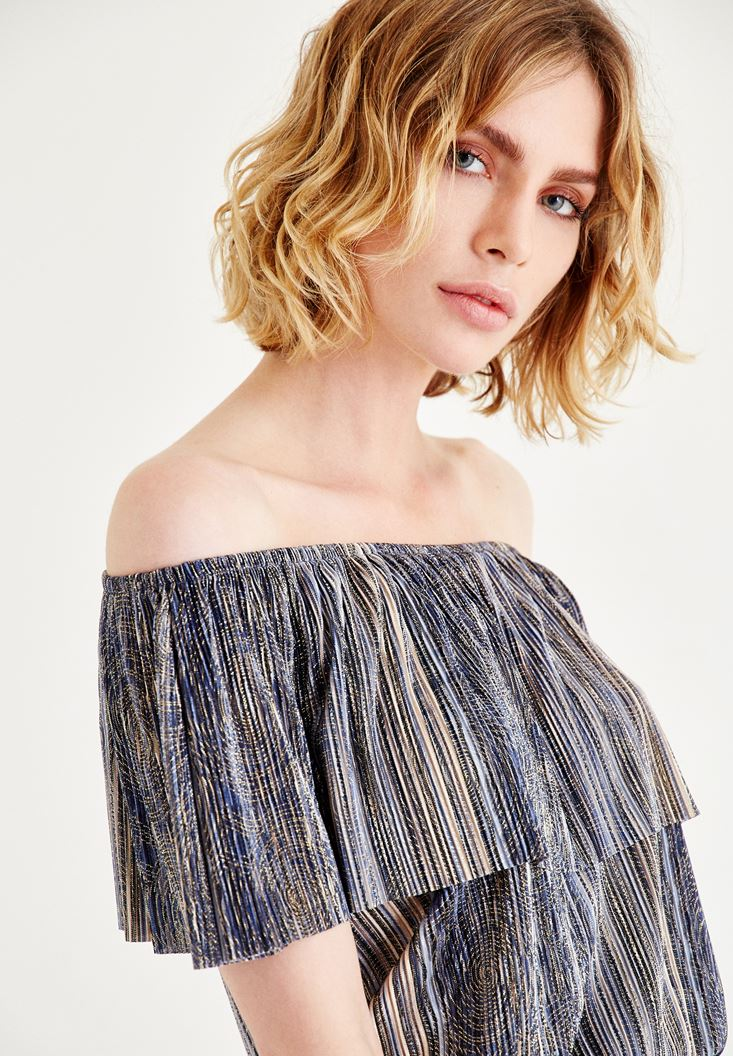 Bayan Mavi Straplez Çizgili Bluz