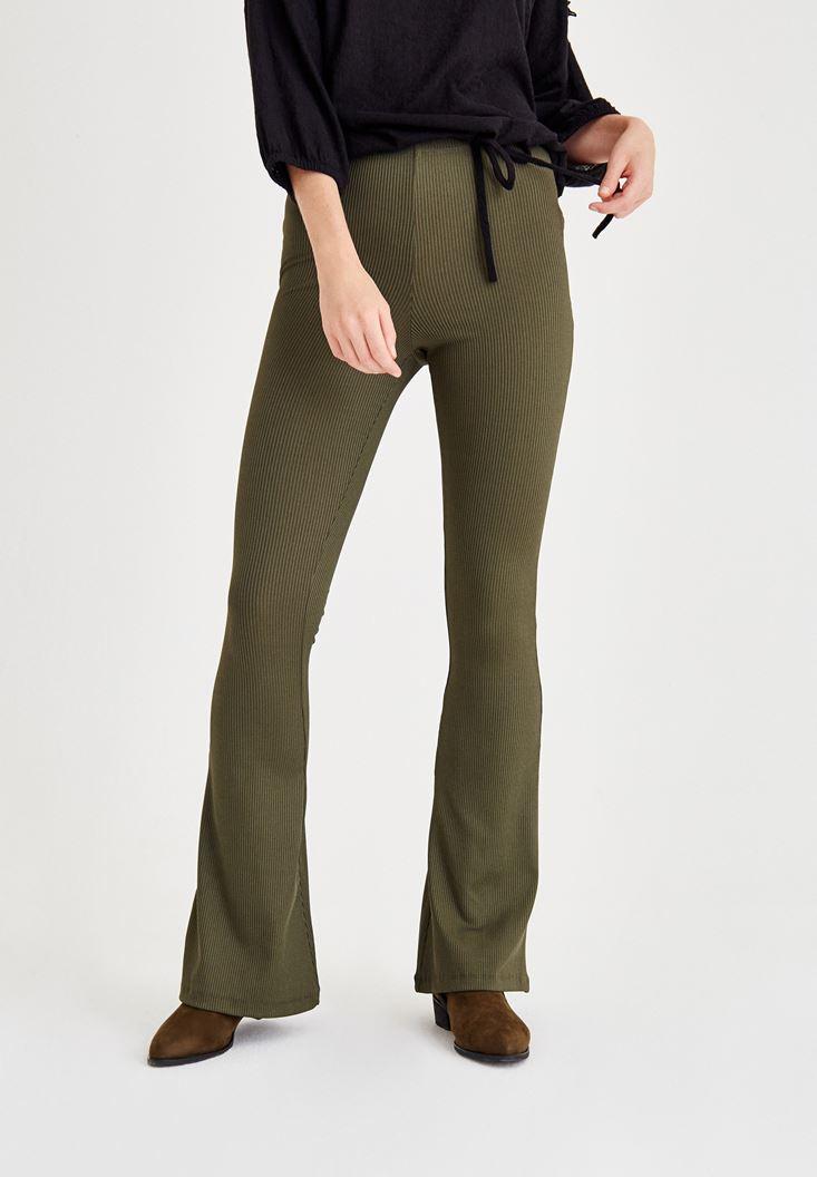 Yeşil İspanyol Paça Lastikli Dar Pantolon