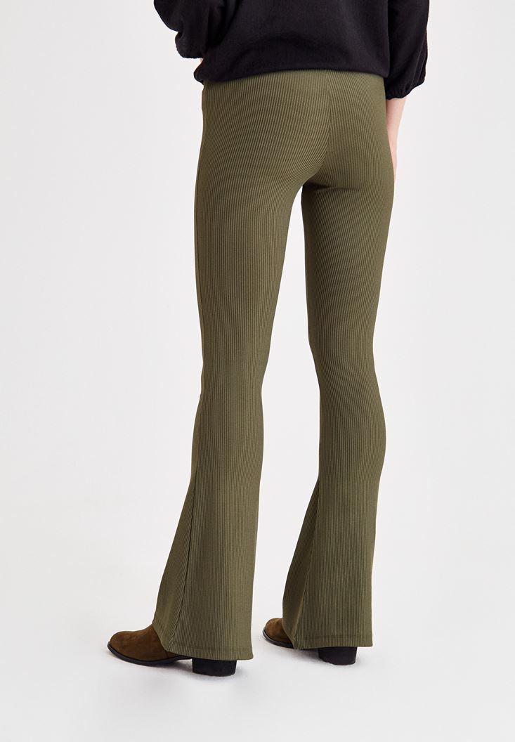 Bayan Yeşil İspanyol Paça Lastikli Dar Pantolon