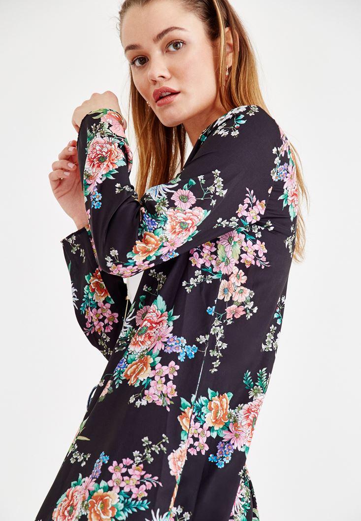 Çok Renkli Çiçek Desenli Kimono