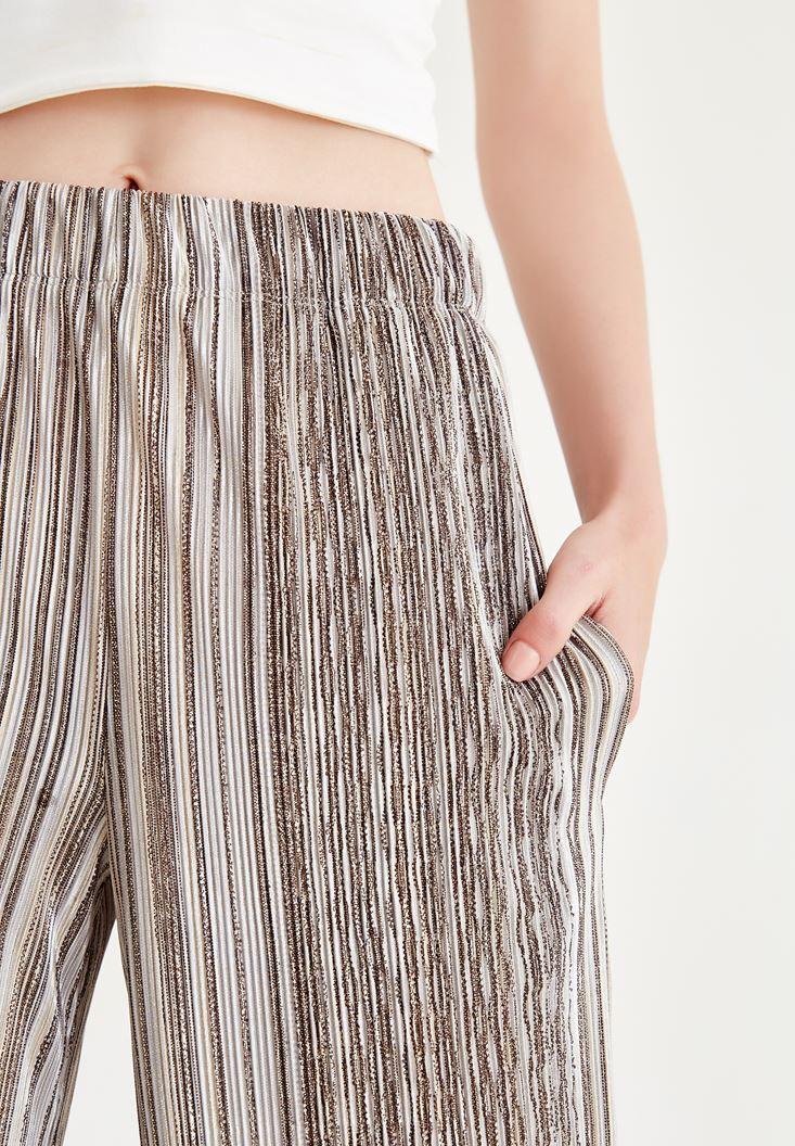 Bayan Krem Çizgili Bol Paça Pantolon