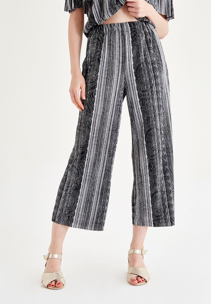 Siyah Çizgili Bol Paça Pantolon