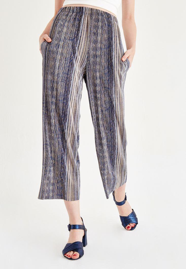 Bayan Mavi Çizgili Bol Paça Pantolon