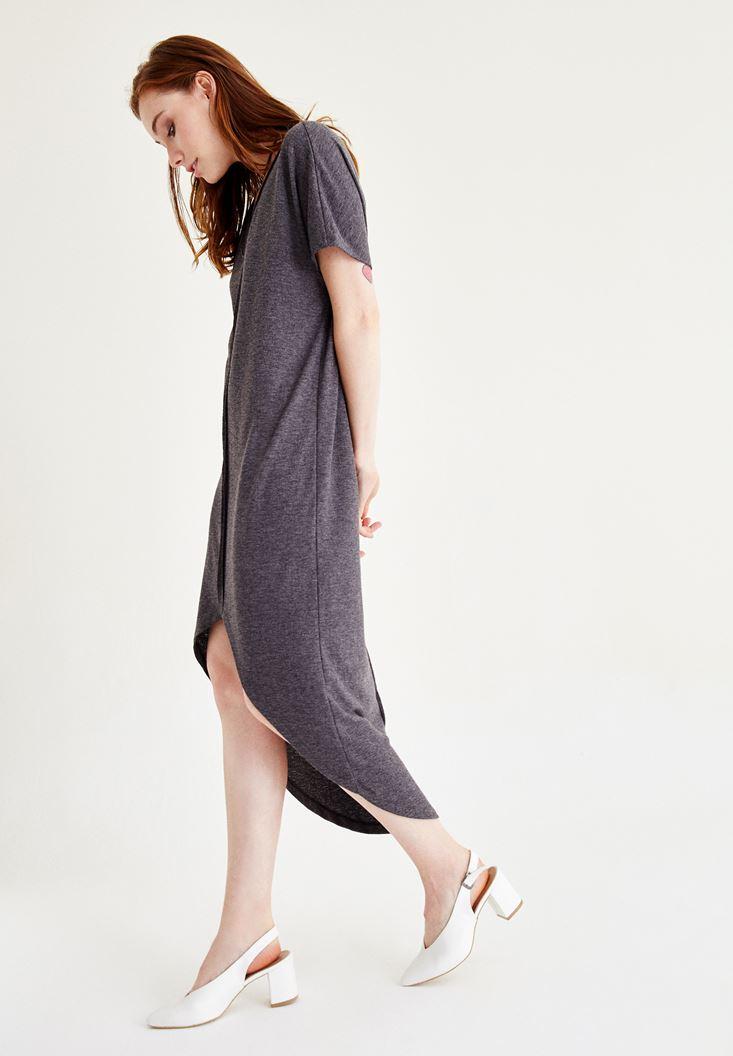 Bayan Siyah V Yaka Arkası Uzun Elbise