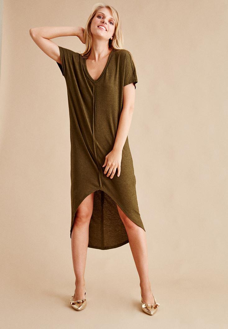 Yeşil V Yaka Arkası Uzun Elbise