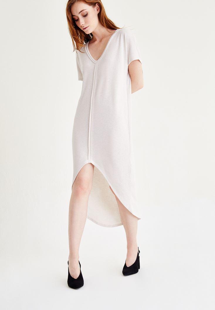 Gri V Yaka Arkası Uzun Elbise