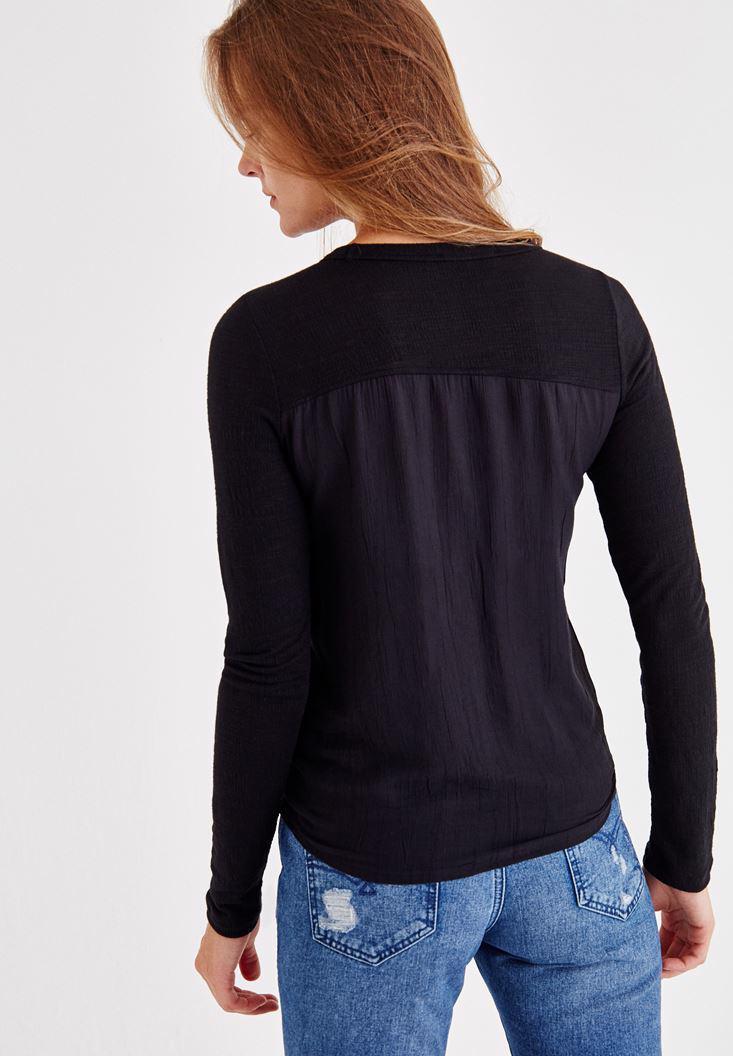 Bayan Siyah Uzun Kollu Düğmeli Gömlek