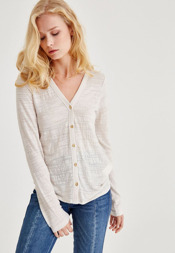 Grey Long Sleeve Shirt With Buttons