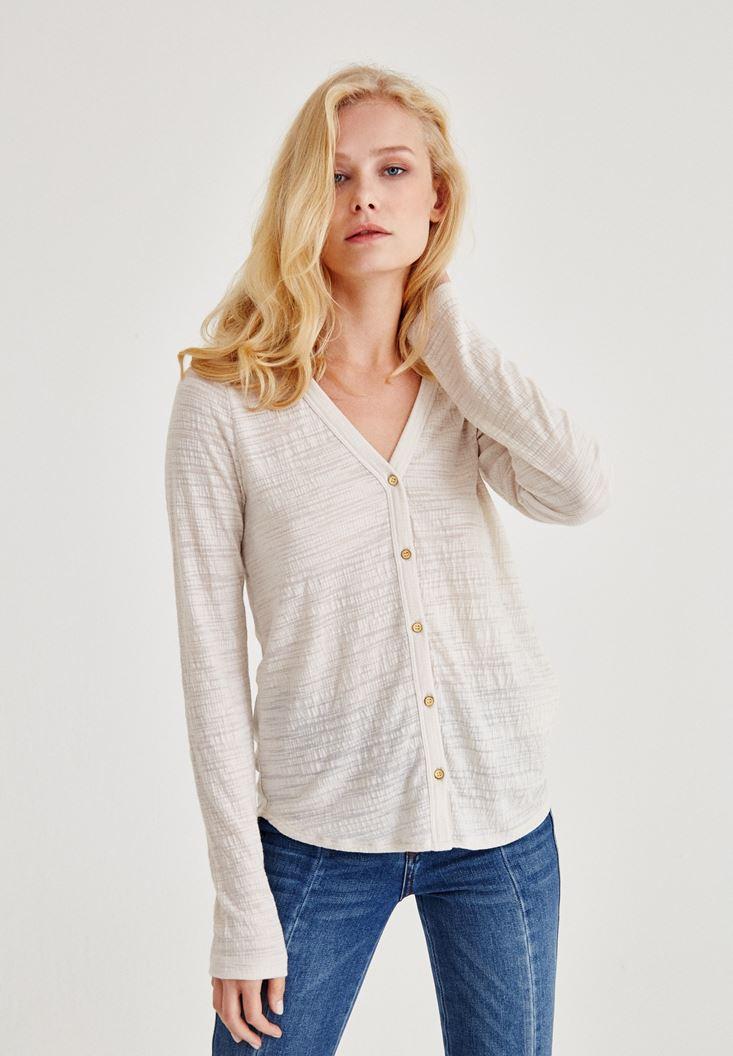Bayan Gri Uzun Kollu Düğmeli Gömlek