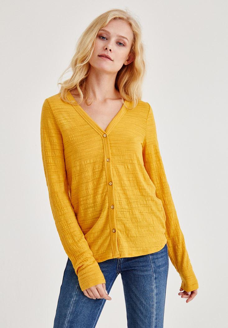 Sarı Uzun Kollu Düğmeli Gömlek