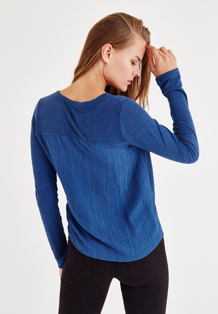 Bayan Mavi Uzun Kollu Düğmeli Gömlek