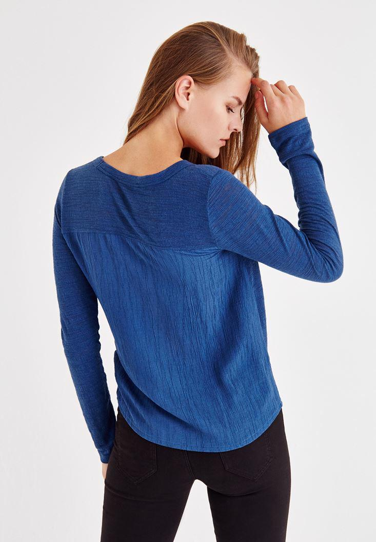 Women Blue Long Sleeve Shirt With Buttons