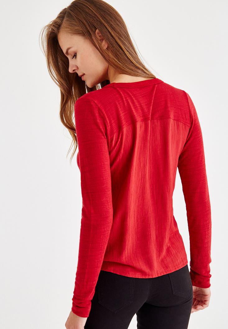 Bayan Kırmızı Uzun Kollu Düğmeli Gömlek