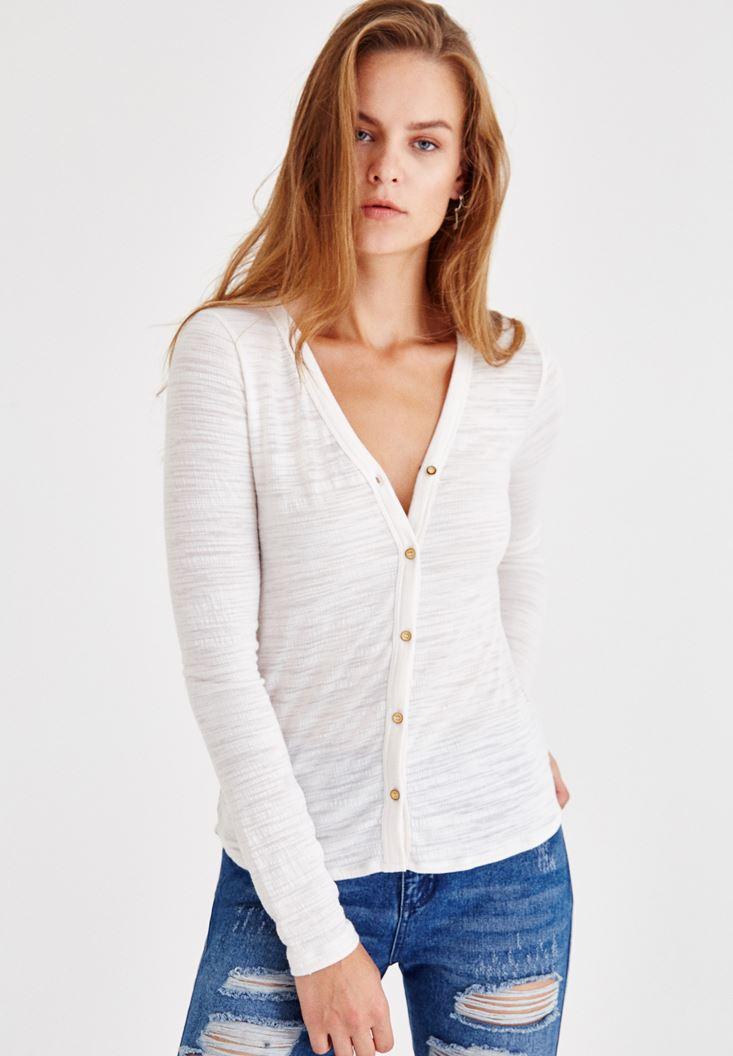 Bayan Krem Uzun Kollu Düğmeli Gömlek