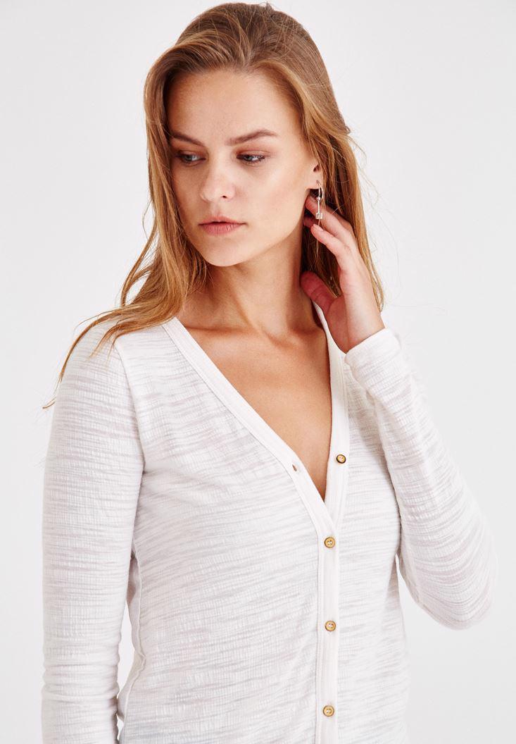 Women Cream Long Sleeve Shirt With Buttons