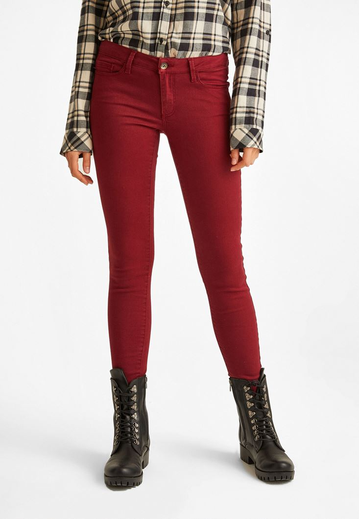 Bordeaux Skinny Low Rise Pants