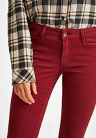 Bayan Bordo Dar Paça Düşük Bel Pantolon