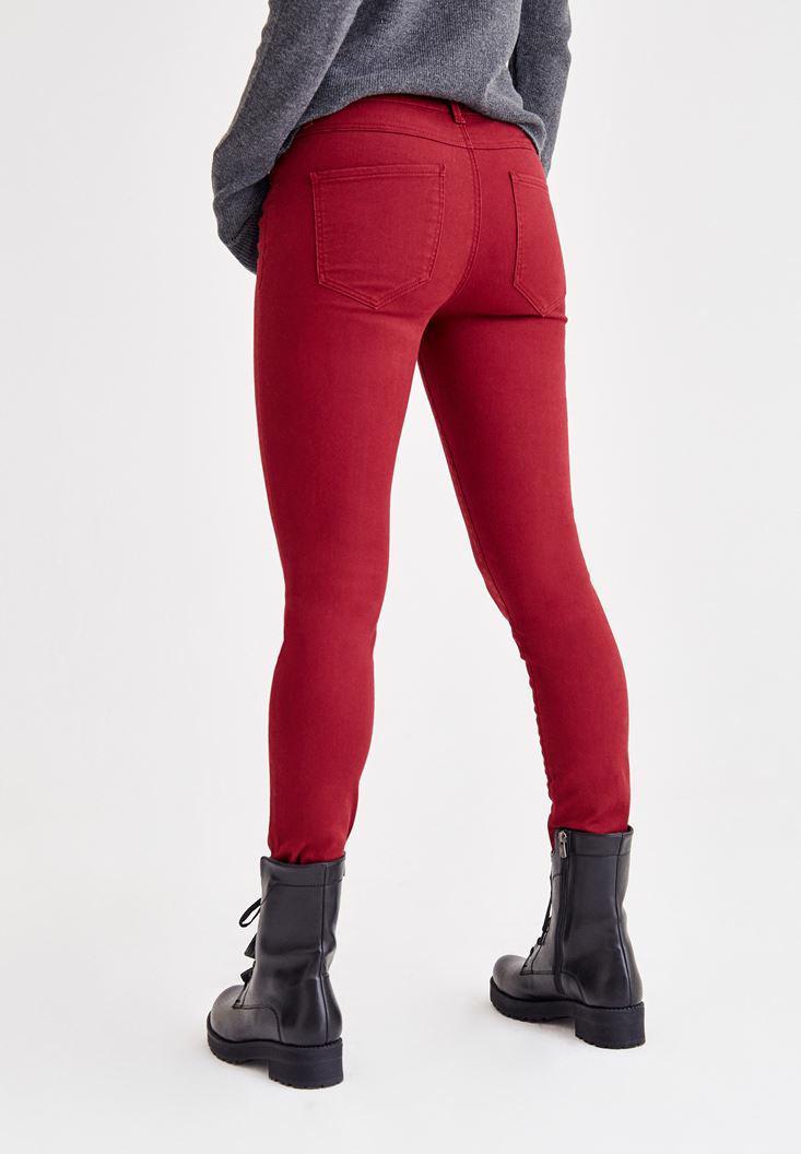 Women Bordeaux Skinny Low Rise Pants