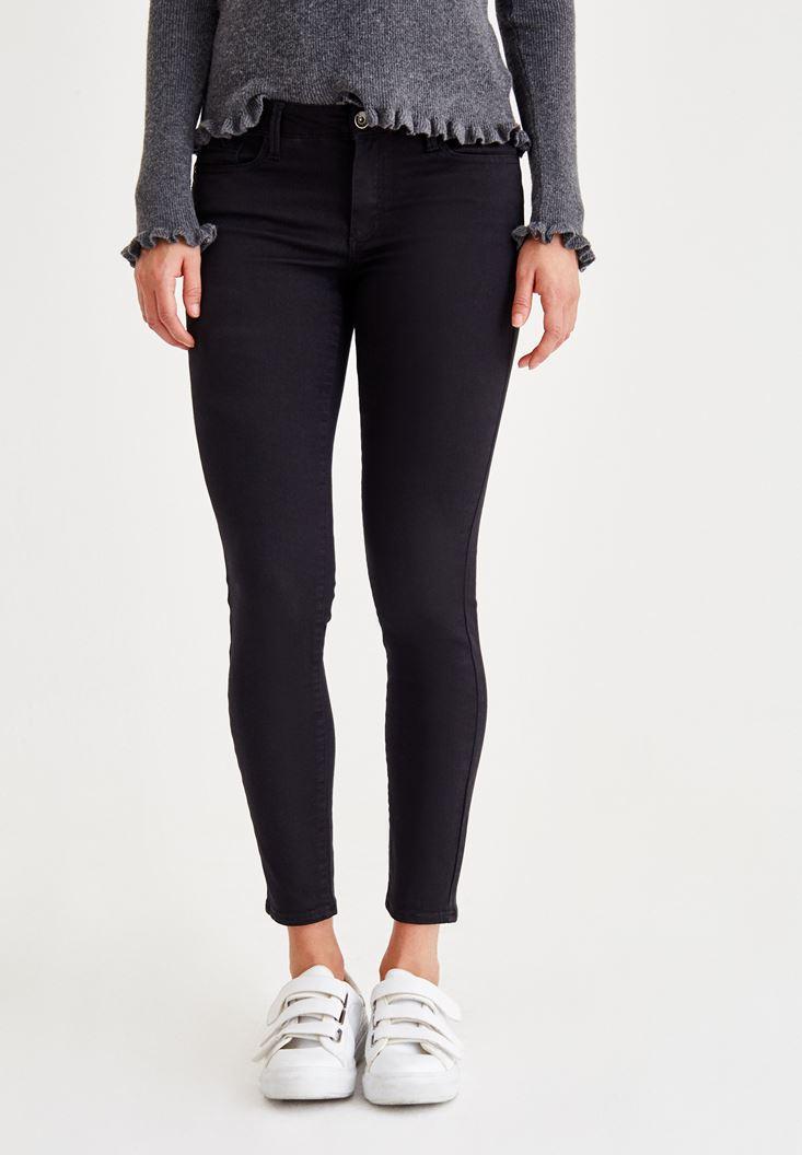 Siyah Dar Paça Düşük Bel Pantolon