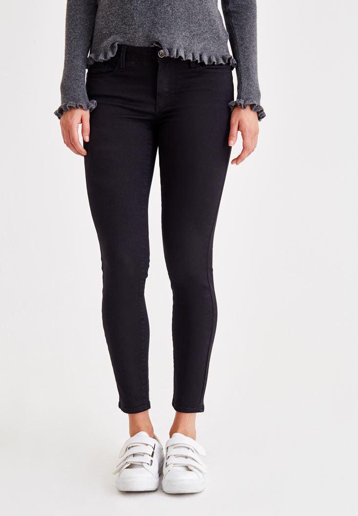 Bayan Siyah Dar Paça Düşük Bel Pantolon