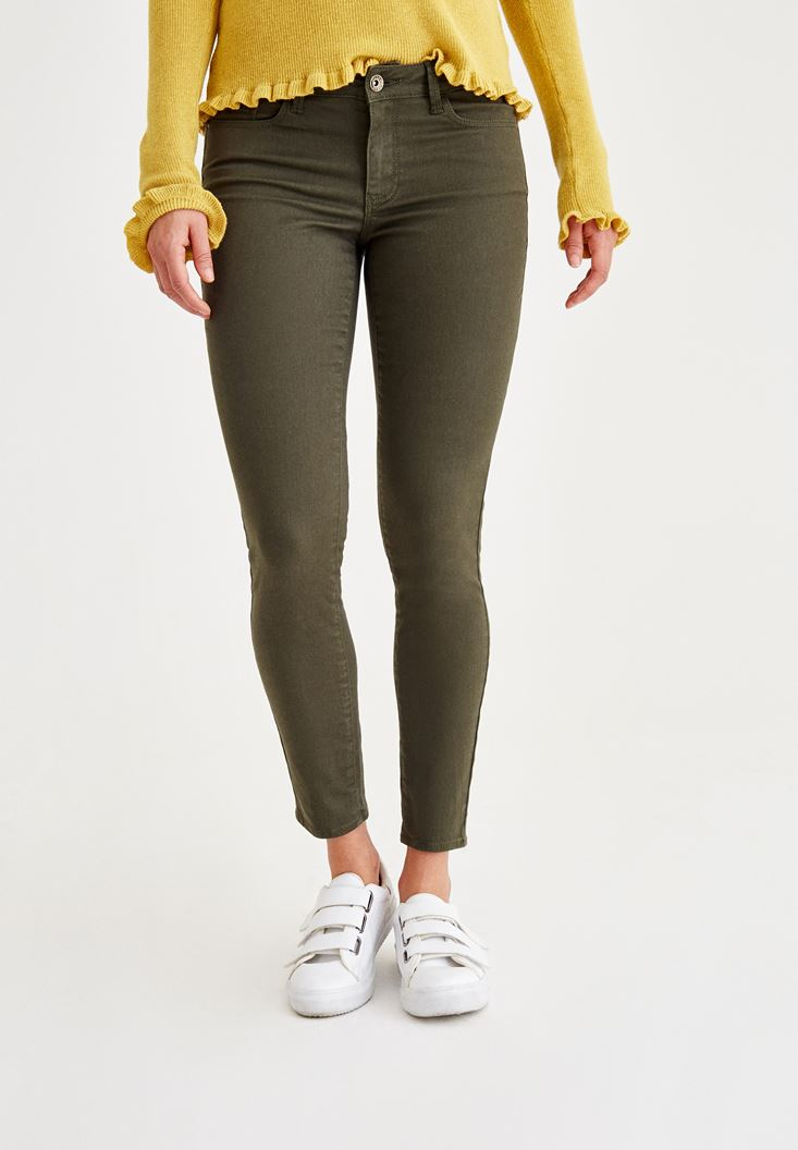Yeşil Dar Paça Düşük Bel Pantolon