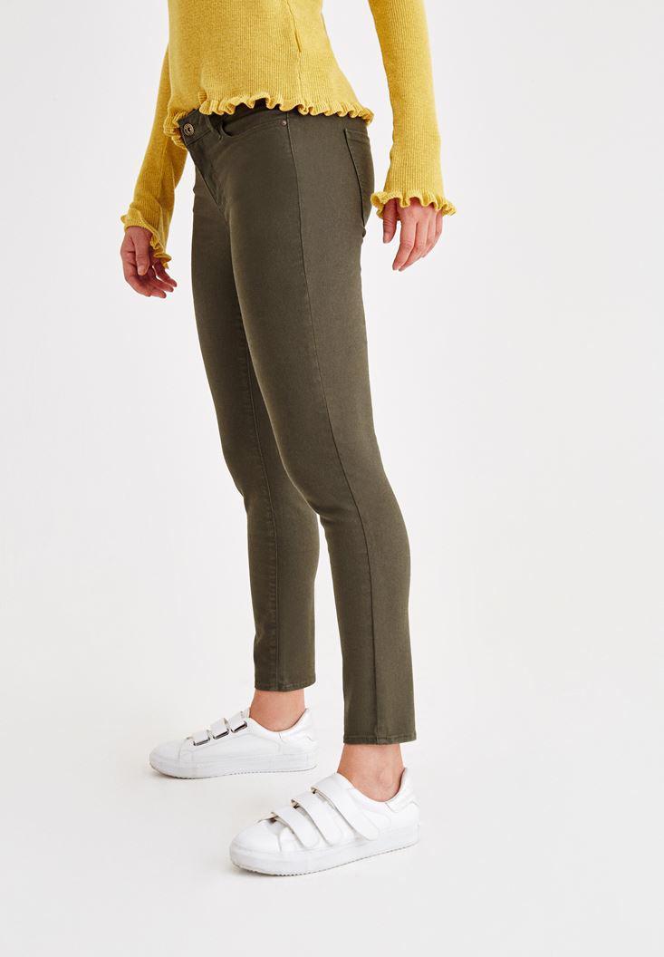 Women Green Skinny Low Rise Pants