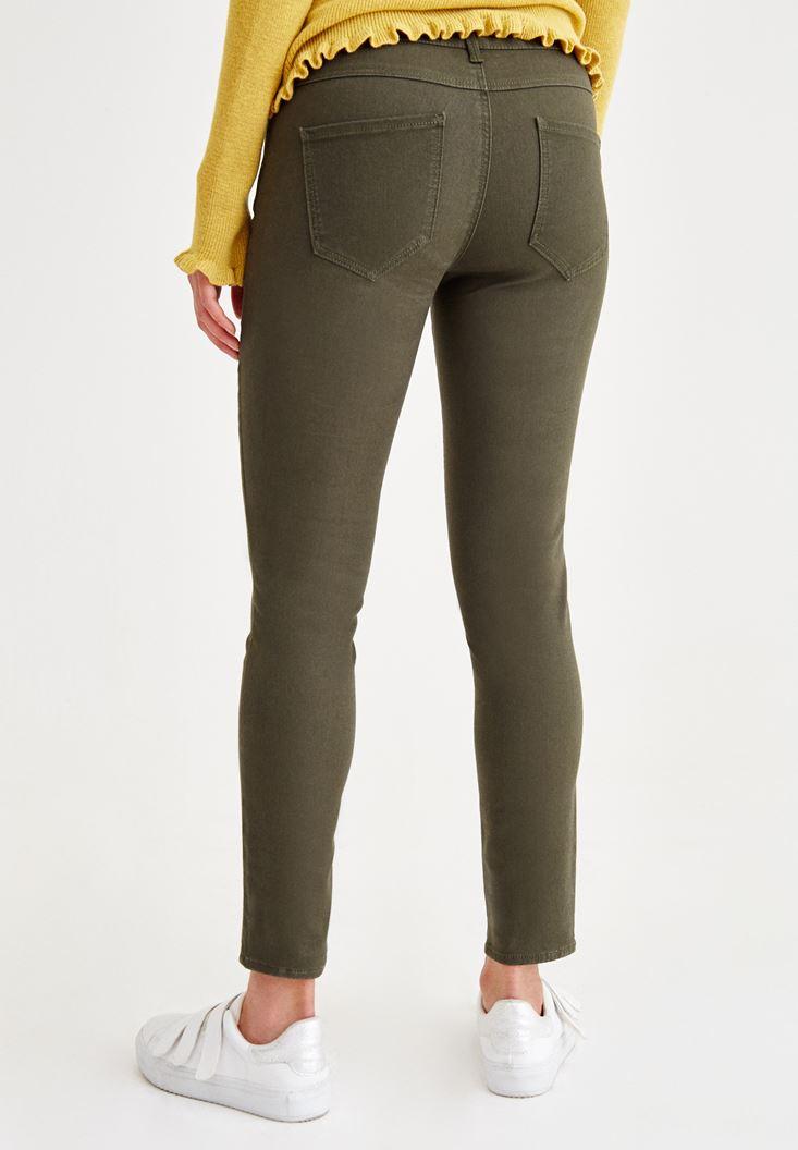 Bayan Yeşil Dar Paça Düşük Bel Pantolon