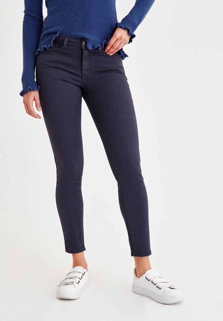 Navy Skinny Low Rise Pants