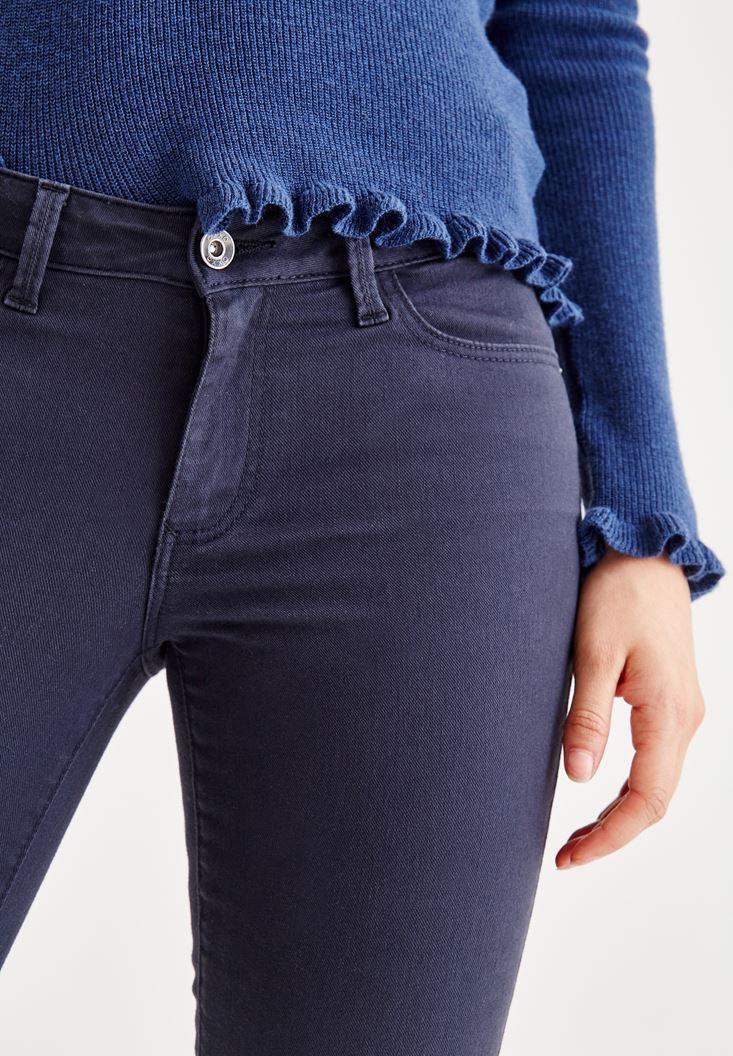 Bayan Lacivert Dar Paça Düşük Bel Pantolon